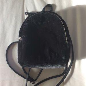 Plush mini backpack purse